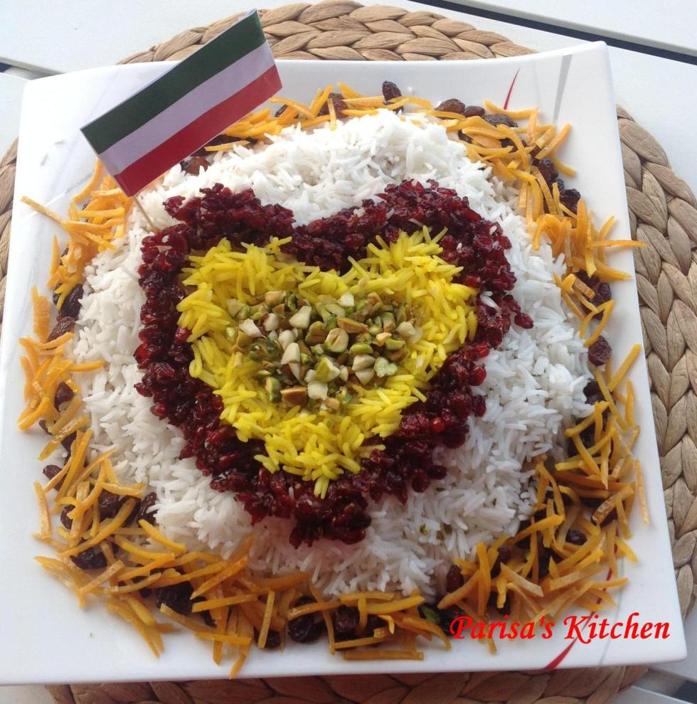 Jeweled Rice (Morasa Polow)- Recipe here: http://parisaskitchen.com/2014/10/09/jeweled-rice-morasa-polow/
