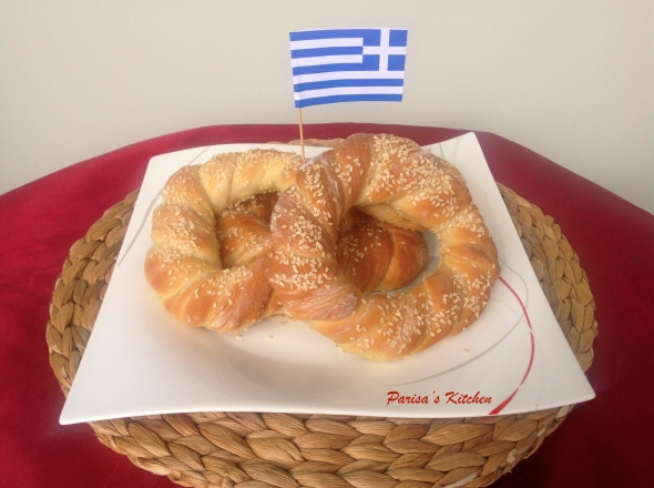 Koulouri Thessalonikis (Greek Sesame Bread Rings)- Recipe here: https://parisaskitchen.com/2015/05/09/koulouri-thessalonikis-or-greek-sesame-bread-rings-κουλουρι-θεσσαλονικης/